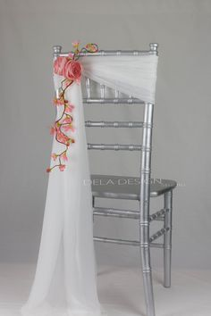Wedding Floral Chair Decor Accent- Handmade Fabric Flowers Chair Sash Sweatheart table You are in the right place about DIY Fabric Flowers satin Here we offer you the most beautiful pictures about the Wedding Chair Sashes, Wedding Chair Decorations, Wedding Chairs, Wedding Centerpieces, Table Wedding, Wedding Chair Covers, Floral Decorations, Wedding Ideas, Diy Decoration