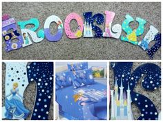Disney Princesses: Personalized handpainted wooden letters by KidsLetteringByTini