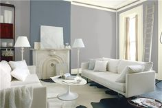 Look at the paint color combination I created with Benjamin Moore. Via @benjamin_moore. Wall: Silver Dollar 1460; Accent Wall: Wolf Gray 2127-40; Trim: Olivetint 519.