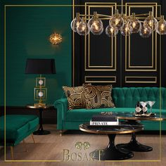 home decor art Dark green, bold angles, geometric accents, and gold light. Every aspect points to Art Deco. Salon Art Deco, Casa Art Deco, Art Deco Living Room, Living Room Designs, Home Interior Design, Interior Decorating, Deco Furniture, Furniture Design, House Design