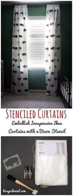 Tutorial to make these stenciled bison curtains from inexpensive Ikea Lenda curtain panels. Great for a kid's room--we made them for our toddler's National Parks themed room.