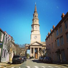St. Philip's Church (Episcopal) in Charleston, SC:  Steeple leans to the left from Civil War cannonballs
