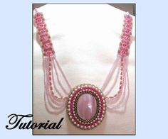 Fancy Embellished Cabochon Necklace Pattern by Paula Adams AKA Visions by Paula at Bead-Patterns.com