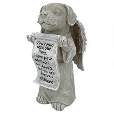 Commemorate beloved pooches you have lost with the Design Toscano Paw Prints on our Hearts Memorial Dog Statue . This touching memorial is cast in weatherproof. Greek Statues, Angel Statues, Garden Animal Statues, Dog Statues, Stone Statues, Dog Home Decor, Statue Tattoo, Cat Statue, Dog Memorial