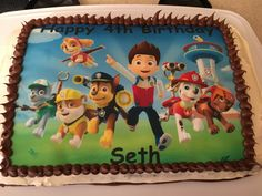 Seth's birthday My neighbour printed the paw patrol picture onto edible paper icing Paw Patrol, 4th Birthday, Icing, Lunch Box, Cakes, Printed, Pictures, Photos, Scan Bran Cake