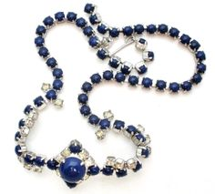 On Sale Sapphire Blue Rhinestone Necklace by TheJewelryLadysStore, $45.10