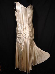 vintage Bridal gown Wedding Dress silk Satin 20's 30's deco Bias gatsby M L tank #Unbranded