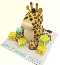 Baby Giraffe with Blocks by Creative Cakes - Tinley Park, via Flickr