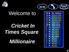 Turn your class into a game show! You are the game host and your students the contestant in this fun interactive game. Students will love playing this version of Who Wants to Be a Millionare game for the book  Cricket in Times Square. Students will have so much fun they wont even know they are reviewing the book:)