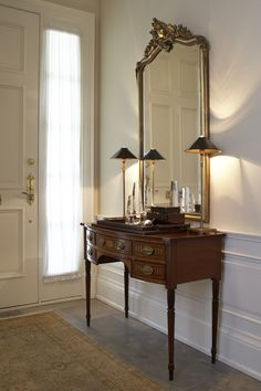 Would love to add this chair rail and molding to my entrance hall. Painted white.