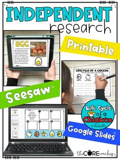 Students complete digital or printable independent research on the life cycle of a chicken.