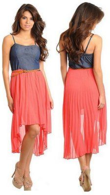 Coral and jean belted dress. I love coral! This dress is so pretty. Great summer dress