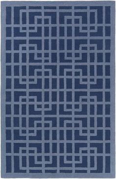 Marigold Lawson Hand-Crafted Navy Blue/Denim Blue Area Rug