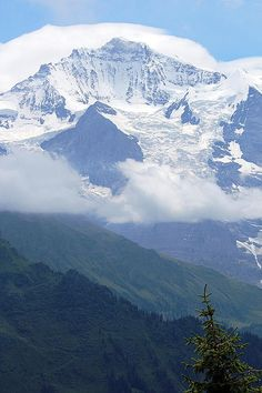 The Jungfrau is one of the main summits in the Bernese Alps, situated between the cantons of Valais and Bern in Switzerland.