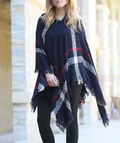 42POPS Navy Plaid Hooded Poncho   zulily