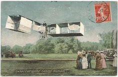 santos dumont - cartão postal antigo original circulado 1909