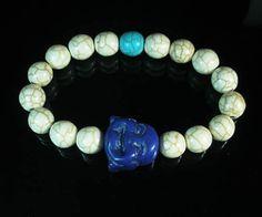 Turquoise Smile Blue Buddha Head White Blue Ball Beads Stretch Bracelet 313
