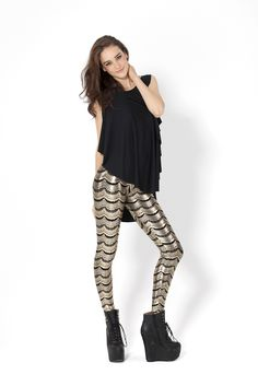 Lashes Gold Leggings by Black Milk Clothing