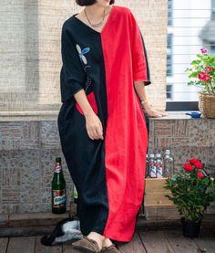 Women Linen maxi dress, dress with pockets, Linen robe, Kaftan, oversized Dresses, minimalist dress