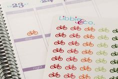 The bicycle stickers include 144 stickers in the colors shown. They will be one sheet of matte finished stickers individually die-cut, ready to peel
