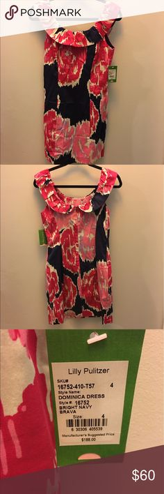 NWT Lilly Pulitzer Dominica Dress- Size 4 Bright Navy Brava- NWT. Beautiful pink and lavender flowers on a navy background. Flattering neckline. Lilly Pulitzer Dresses
