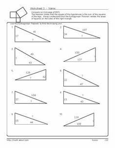 Practice Using the Pythagorean Theorem With These Geometry Worksheets: Worksheet # 3