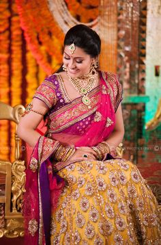 Sneha in her bridal lehenga at her Sangeet function