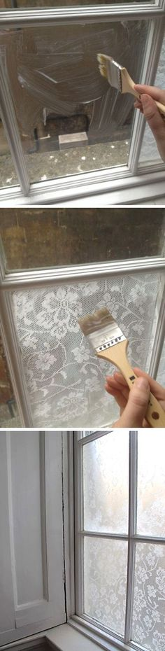 Lace Window Treatment With Cornflour... this is happening to the bathrooms.