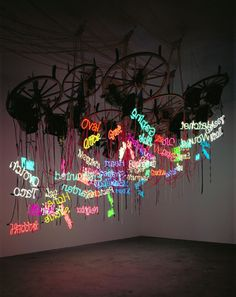 "Jason Rhoades, ""Twelve-Wheel Wagon Wheel Chandelier"", an installation of… Modern Art, Contemporary Art, Neon Aesthetic, Festa Party, Neon Lighting, Art Plastique, Installation Art, Art Installations, Event Design"
