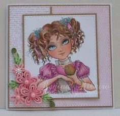 """By Regina Ribeiro with """"Little Elf Kia"""" digi.  Top 3 winner in AW's FB group October Contest """"Shades of Pink""""."""