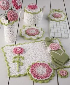 Carnation Kitchen Set Crochet Pattern – Maggie's Crochet ~ easy level ~ hot pad, pot holder, towel topper, placemat, vase, tea cozy, napkin ring, fridgie ~ CROCHET