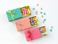 Tiny Valentine Gift Boxes | these are adorable DIY party treats. https://www.favecrafts.com/Unexpected-Ideas/Tiny-Valentine-Gift-Boxes