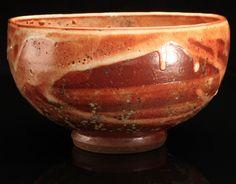 Multiple layered Shinos, Wood Ash on Iron stoneware tea bowl chawan matcha, fired to cone