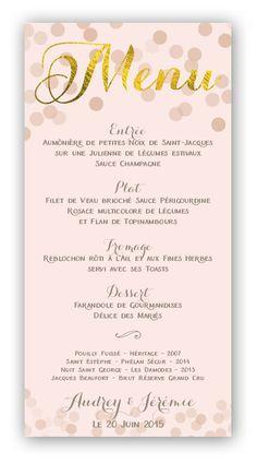 """Menu Champagne (dorure) - Votre table de mariage sera très élégante avec ces menus de mariage or et rose nude. Le mot """"Menu"""" est imprimé en dorure à chaud."""