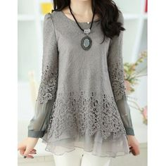 Sweet Scoop Neck Lace Splicing Long Sleeve Women's T-Shirt (GRAY,XL) in Tees & T-Shirts | DressLily.com