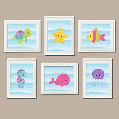 Baby Girl Nursery Art Sea Life Sea Animals Under The Sea Nursery Decor Sea Animals Bathroom Decor Set of 6 Prints Nautical Wall Art by LovelyFaceDesigns on Etsy https://www.etsy.com/listing/207530657/baby-girl-nursery-art-sea-life-sea