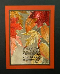 Leaf Prints: PTI, fall, stamped, embossed, sponged, spritzed w/ gold, leaf sketch, hobbydujour at splitcoast