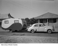 Australian vintage caravan and FX Holden sedan, photo 1950