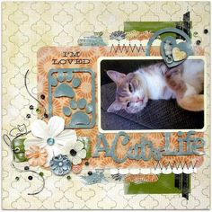 Cat Scrapbook Page by Nicole Doiron for Scrap Our Stash Challenge featuring 17turtles Digital Cut Files Good Kitty