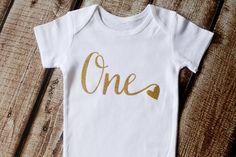 First Birthday Onesie, First Birthday Shirt, Gold Glitter, One with heart Onesie, Glitter shirt, Second Birthday, Birthday Tutu