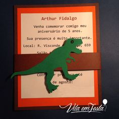 Convite Tema Dino!!  (mínimo 10 unidades) #convite #dino #dinossauros #festainfantil #festas #montesuafesta #lojavirtual #convitedino #festadinossauro #papelariapersonalizada