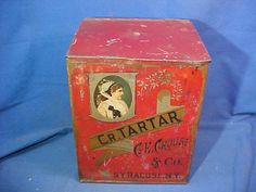 19thc COUNTRY STORE Countertop CREAM Of TARTAR Spice TIN w Litho Exteriot