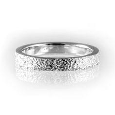 Unique white gold engagement ring, textured wedding band, unique wedding band…