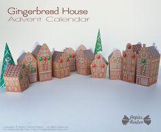 Calendrier de l'Avent - Maison de pain d'épices - Papier Bonbon Paper Toy, Advent Calendar, Diy, Printables, Holiday Decor, Shop, Candy, Gingerbread Man, Paper