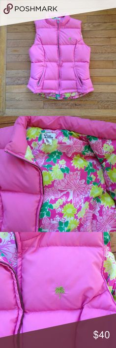 Lilly Pulitzer down vest Pink Lilly down vest. Zips up with two zipper front pockets. Look at that lining. How cute. Lilly Pulitzer Jackets & Coats Vests