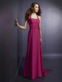 Column/Sheath Halter Chiffon Floor-length Pleated Bridesmaid Dresses under $150 BUD0523