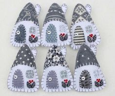 Felt Christmas Ornaments, Grey and White Houses, Scandi ornaments