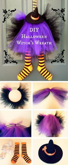 DIY Halloween Witch wreath.