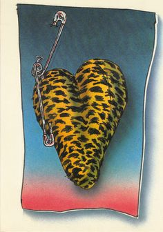 1980s HEARTLINES GREETING CARD  PUNK HEART  LEOPARDSKIN HEART WITH SAFETY PINS