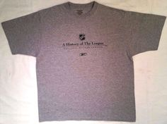 "Reebok NHL ""A HISTORY OF THE LEAGUE"" Men's Gray T-Shirt sz XL #Reebok #TShirt"